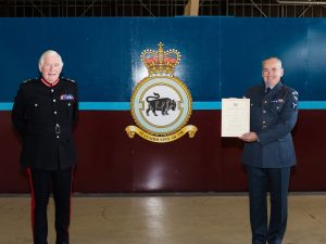 Royal Air Force Reservist from 2622 (Highland) Squadron has been presented with an award for Meritorious Service by the Lord-Lieutenant of Moray, Major General The Hon Seymour Monro.