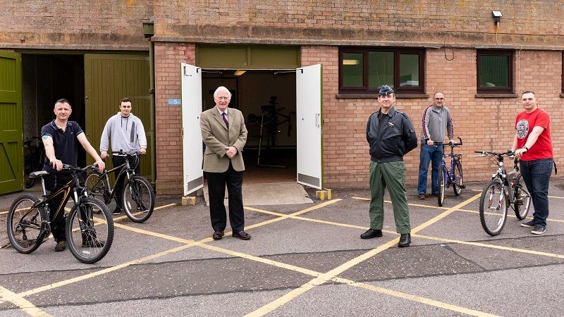 Major General the Honourable Seymour Monro CBE LVO and RAF Lossiemouth Station Commander attend new bike charity