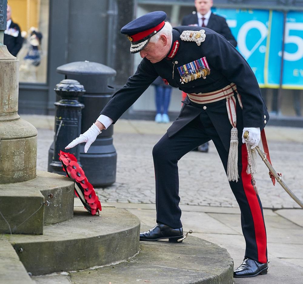 Remembrance Sunday 8 November 2020 at Plainstones War Memorial, High Street, Elgin, Moray, Scotland, UK.