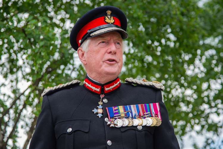 Moray's Lord-Lieutenant, Major General Seymour Monro...A plaque is unveiled at Moray Council's HQ in Elgin, to help tell the story of the Duke of Edinburgh Awards and its Moray roots