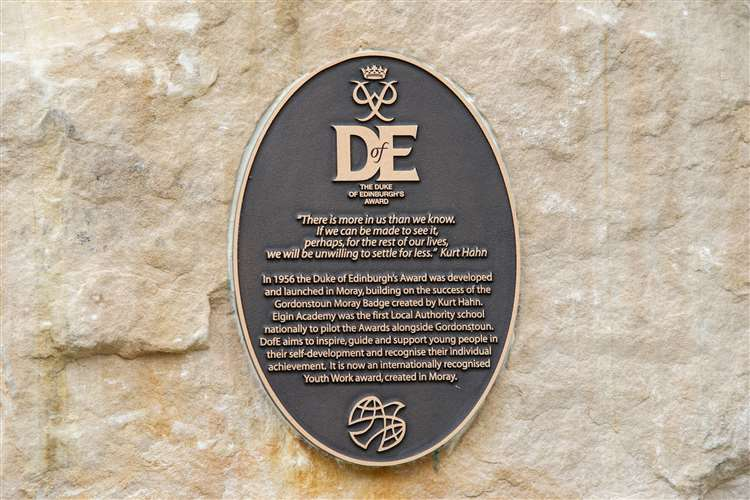 A plaque is unveiled at Moray Council's HQ in Elgin, to help tell the story of the Duke of Edinburgh Awards and its Moray roots