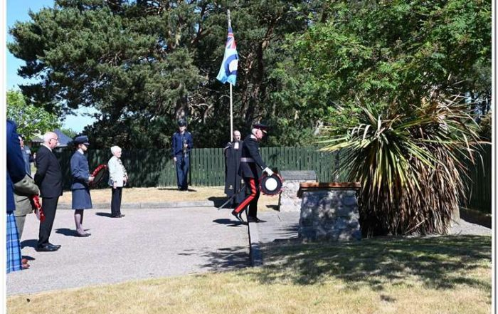 Lord Lieutenant of Moray, Seymour Monro, places a wreath at the war memorial.Lord Lieutenant of Moray, Seymour Monro, places a wreath at the war memorial.