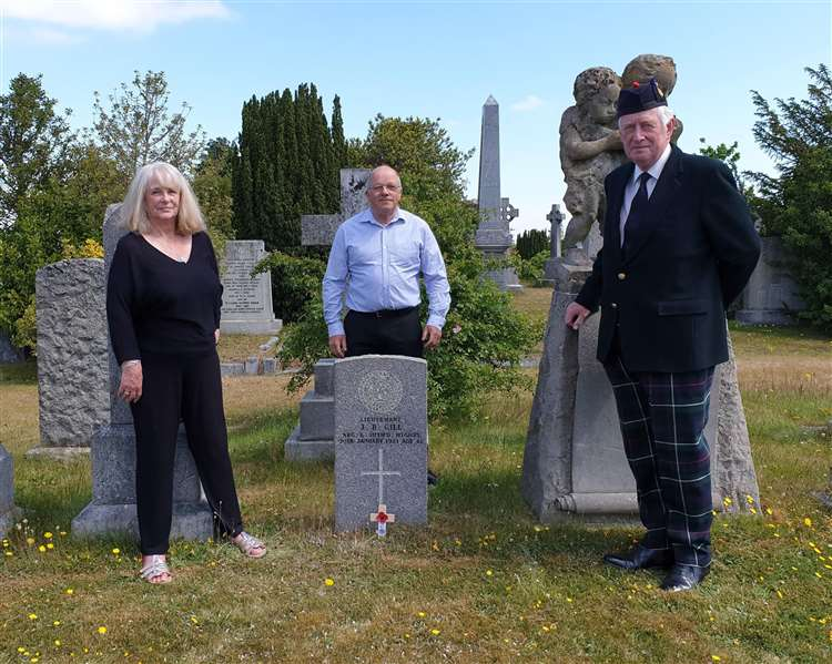The final commemoration in Elgin Cemetery with (from left) Fiona Fraser, one of the centenary project's most dedicated volunteers, Derek Bird, WFA Scotland (North) branch chairman, and Lord Lieutenant of Moray Seymour Monro.