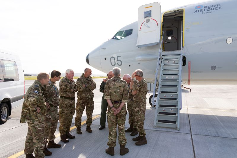 Lord Lt and DL are briefed on the Poseidon aircraft of 120 Sqn at RAF Lossiemouth